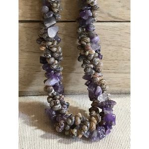 NWOT Amethyst and Seashell Beaded Necklace